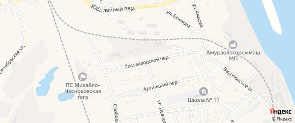 Лесозаводской переулок на карте Свободного с номерами домов