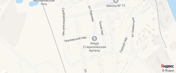 Чкаловский переулок на карте Свободного с номерами домов