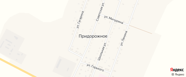 Улица Горького на карте Придорожного села с номерами домов
