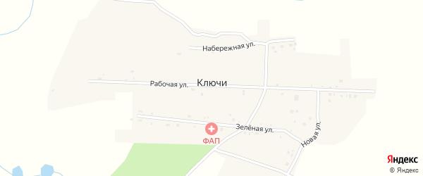 Зеленая улица на карте села Ключи с номерами домов