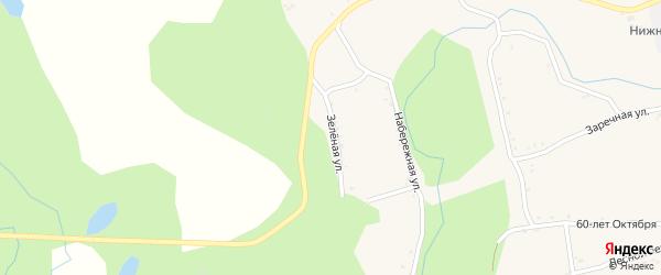 Зеленая улица на карте села Нижние Бузули с номерами домов