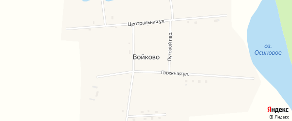 Луговой переулок на карте села Войково с номерами домов