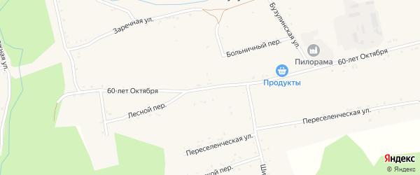 Улица 60 лет Октября на карте Источного села с номерами домов
