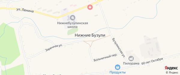 Широкая улица на карте села Нижние Бузули с номерами домов