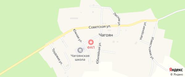 Школьная улица на карте села Чагояна с номерами домов