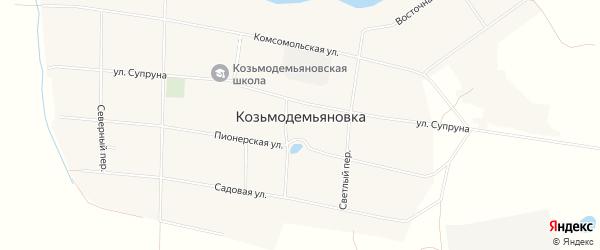 Карта села Козьмодемьяновка в Амурской области с улицами и номерами домов