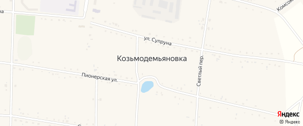 Светлый переулок на карте села Козьмодемьяновка с номерами домов
