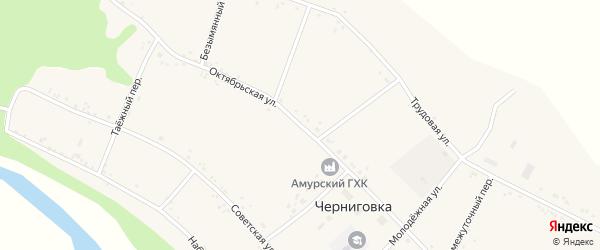 Октябрьская улица на карте села Черниговки с номерами домов