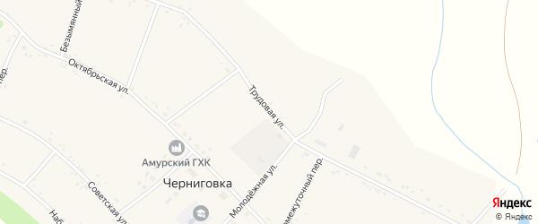 Трудовая улица на карте села Черниговки с номерами домов