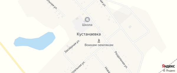 Центральная улица на карте села Кустанаевки с номерами домов