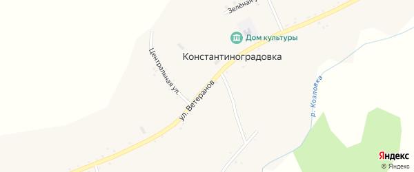 Улица Ветеранов на карте села Константиноградовки с номерами домов