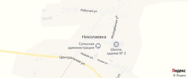 Рабочая улица на карте села Николаевки с номерами домов
