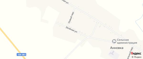 Зеленая улица на карте села Анновки с номерами домов