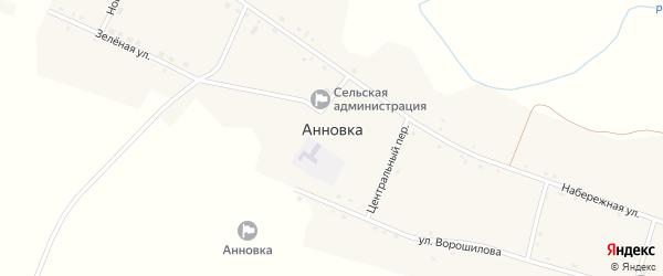 Новый переулок на карте села Анновки с номерами домов