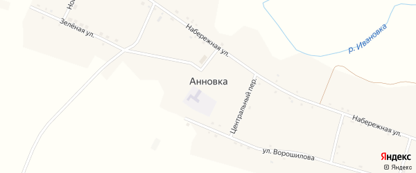 Школьный переулок на карте села Анновки с номерами домов