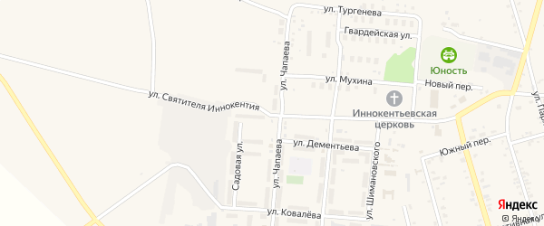 Улица Святителя Иннокентия на карте поселка Серышево с номерами домов