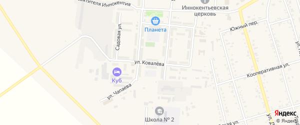 Улица Ковалева на карте поселка Серышево с номерами домов