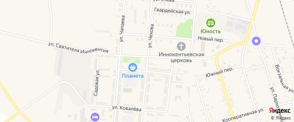 Улица Чехова на карте поселка Серышево с номерами домов
