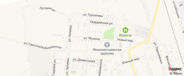 Улица Мухина на карте поселка Серышево с номерами домов