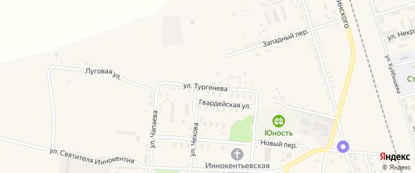 Улица Тургенева на карте поселка Серышево с номерами домов