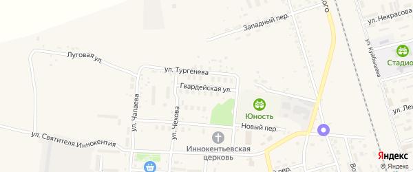 Гвардейская улица на карте поселка Серышево с номерами домов
