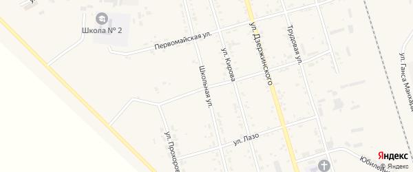 Школьная улица на карте поселка Серышево с номерами домов