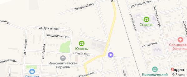 Спортивный переулок на карте поселка Серышево с номерами домов