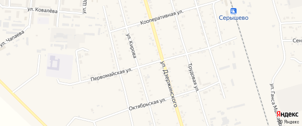 Первомайская улица на карте поселка Серышево с номерами домов