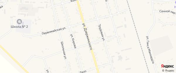 Улица Дзержинского на карте поселка Серышево с номерами домов