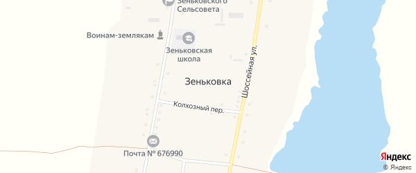 Шоссейная улица на карте села Зеньковки с номерами домов