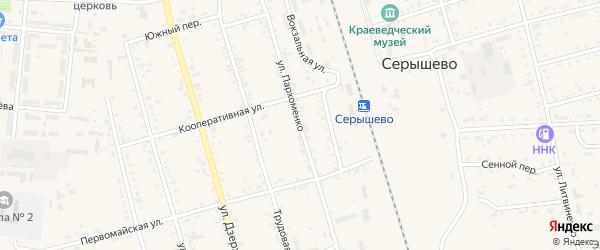Улица Пархоменко на карте поселка Серышево с номерами домов