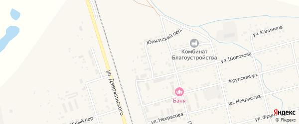 Фабричный переулок на карте поселка Серышево с номерами домов