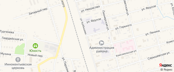 Улица Куйбышева на карте поселка Серышево с номерами домов