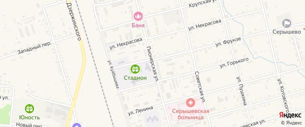 Пионерская улица на карте поселка Серышево с номерами домов