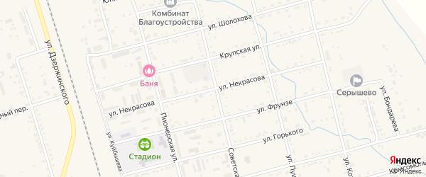 Улица Некрасова на карте поселка Серышево с номерами домов