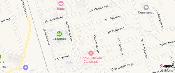 Улица Горького на карте поселка Серышево с номерами домов