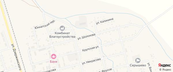 Улица Шолохова на карте поселка Серышево с номерами домов