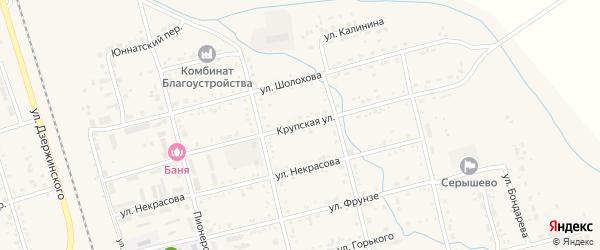 Крупская улица на карте поселка Серышево с номерами домов