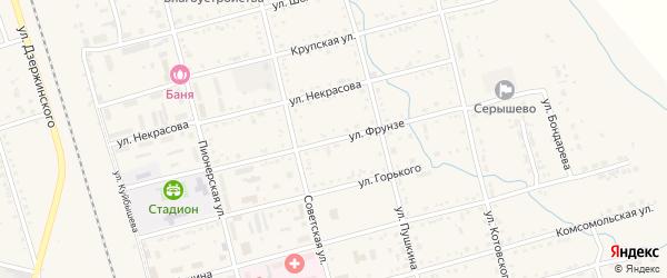 Улица Фрунзе на карте поселка Серышево с номерами домов