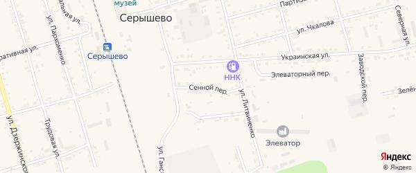 Сенной переулок на карте поселка Серышево с номерами домов