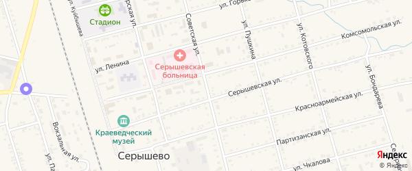 Советская улица на карте поселка Серышево с номерами домов