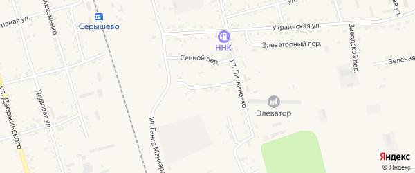 Железнодорожный переулок на карте поселка Серышево с номерами домов