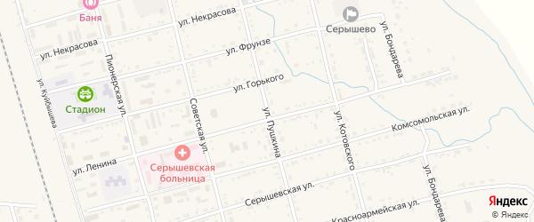 Улица Пушкина на карте поселка Серышево с номерами домов