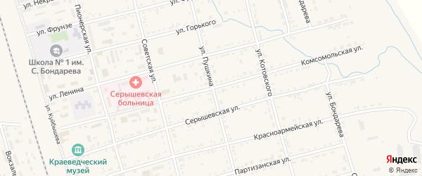 Комсомольская улица на карте поселка Серышево с номерами домов