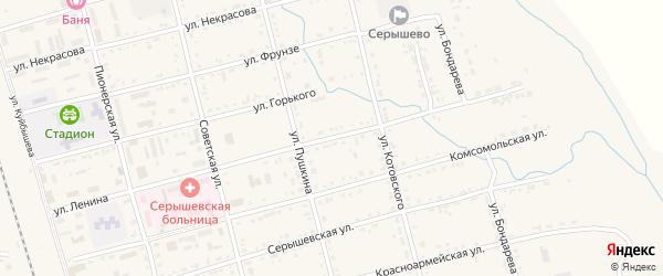 Улица Ленина на карте поселка Серышево с номерами домов