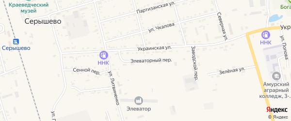 Элеваторный переулок на карте поселка Серышево с номерами домов