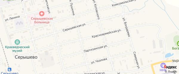 Красноармейская улица на карте поселка Серышево с номерами домов