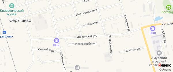 Украинская улица на карте поселка Серышево с номерами домов