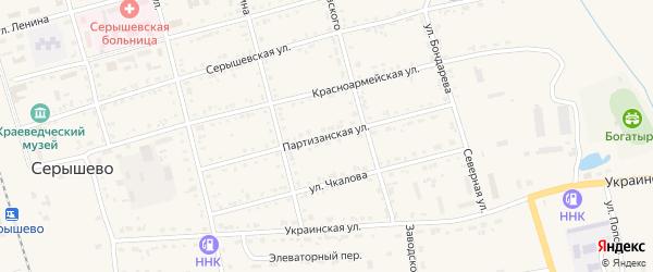 Партизанская улица на карте поселка Серышево с номерами домов