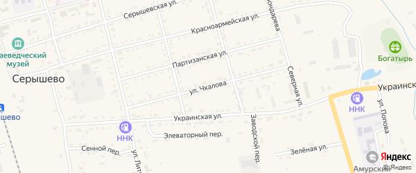 Улица Чкалова на карте поселка Серышево с номерами домов